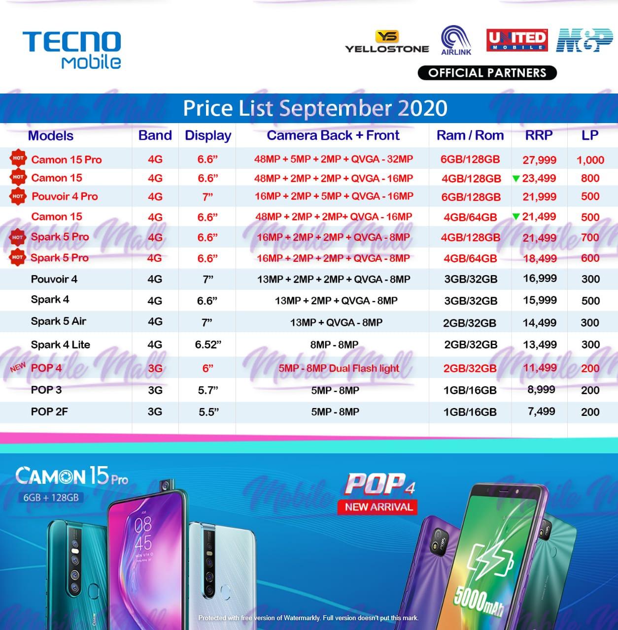 Tecno Dealer Price List - September 2020
