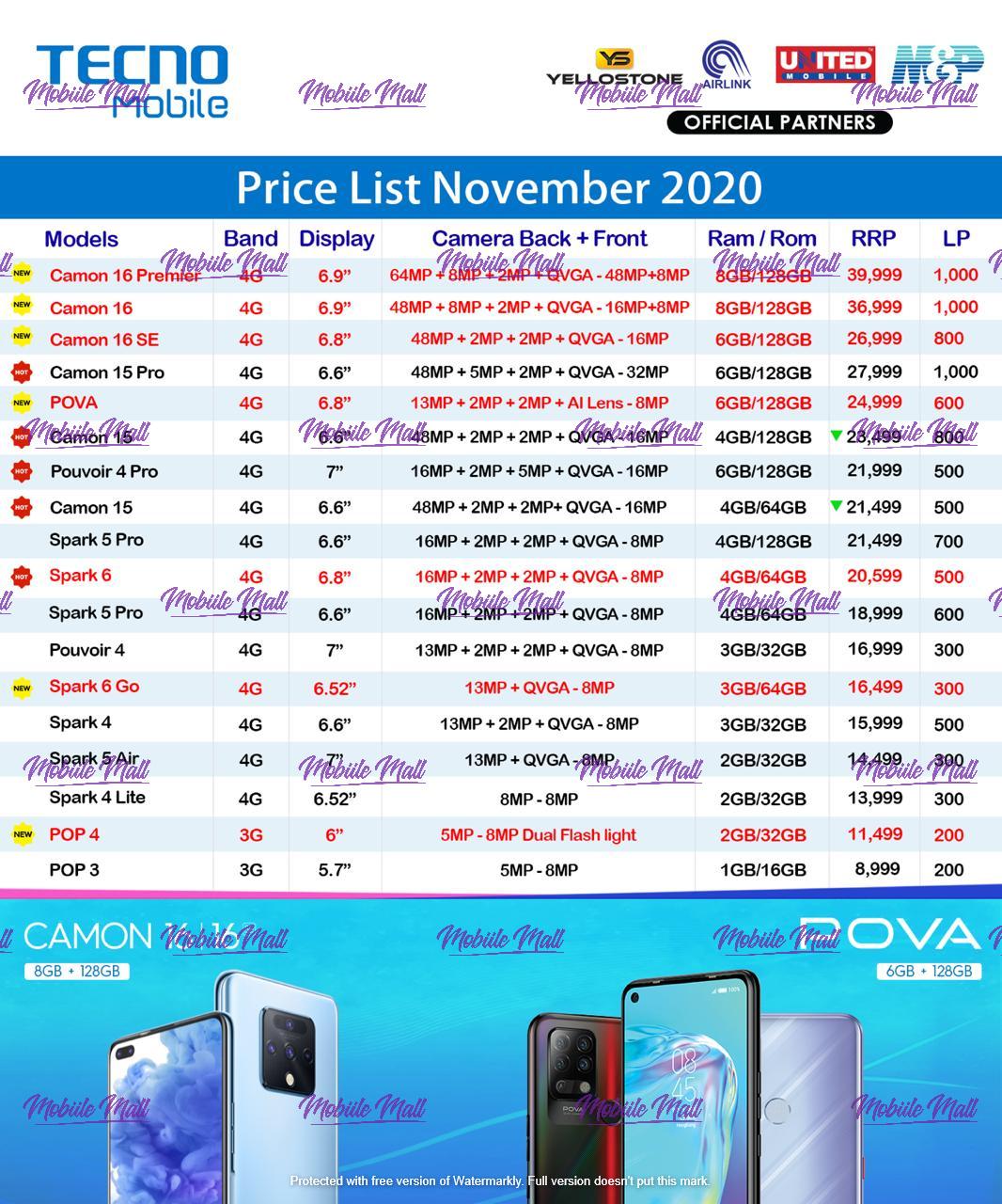 Tecno Dealer Price List - December 2020